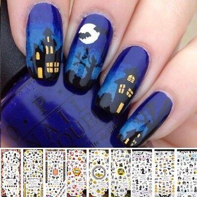 Nail Art Water Transfer Sticker-Decals-Adesivi Unghie-HALLOWEEN-Zucca-Gatto Nero