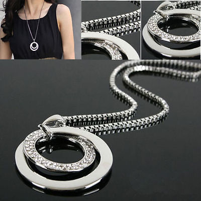 Fashion Crystal Rhinestone Silver Plated Long Chain Pendant Necklace Gift Women