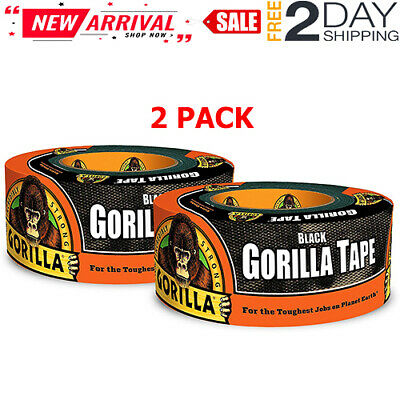 2 Gorilla Tape Black Duct Heavy Duty Adhesive Stronger Double Thick Inoutdoor