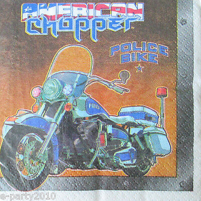 AMERICAN CHOPPER SMALL NAPKINS (16) ~ Birthday Party Supplies Motorcycles Cake - Motorcycle Birthday Party Supplies