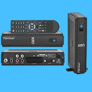 Digitaler Sat TV Receiver Opticum X80 Scart FTA SD Frei Sender Conax DVB-S mini