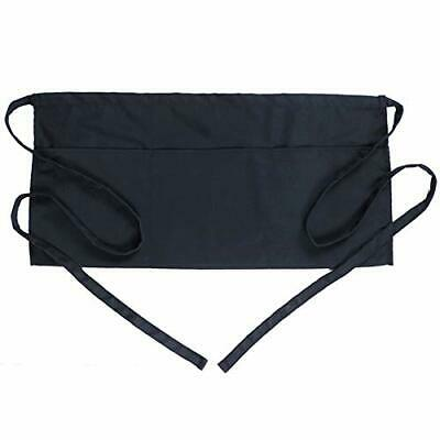 Boharers Waist Apron With 3 Pockets - Black Waitress Waiter Server Half Short...