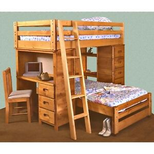 Solid Pine Bunkbed - 2 twin beds, desk, shelf, dresser, ladder