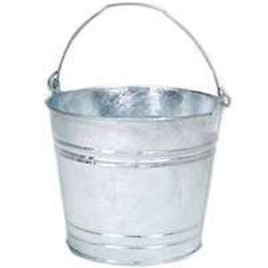 LOT OF 6 GALVANIZED METAL 12QT WATER BUCKET PAIL TUB 12