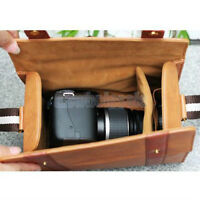 Brown PU Leather Carrying Bag Case Pouch For SLR DSLR Canon