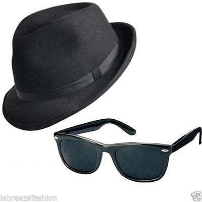 2 X Blues Brothers Hut & Gläser Sonnenbrille Kostüm H38 163