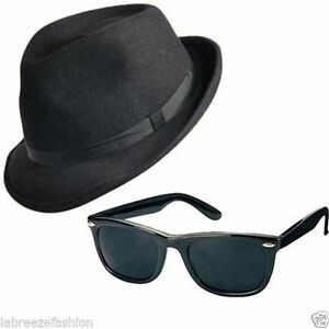 2 x BLUES BROTHERS HAT & GLASSES SUNGLASSES COSTUME FANCY DRESS H38 163