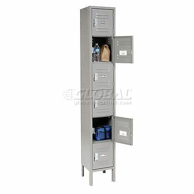 Global Locker Six Tier 12x12x12 6 Door Ready To Assemble Gray