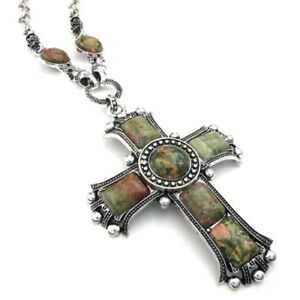 Mens Womens Vintage Large Gothic Cross Pendant Necklace Chain Green Silver