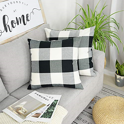 2set Plaid Throw Check Pillows Covers Buffalo Farmhouse Deco