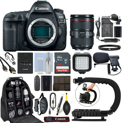 Canon EOS 5D Mark IV DSLR Camera & 24-105mm f/4L II USM Lens+ 64GB Pro Video Kit for sale  Shipping to India