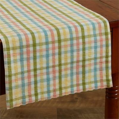"PARK DESIGNS Country Home"" BEATRICE "" Plaid Seersucker 36"" Table Runner NEW"