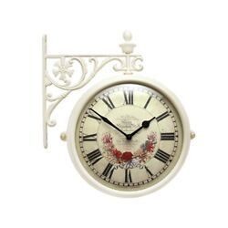 Antique Flower Double Sided Wall Clock Home Decor Station Clock Gift - M195IVF5