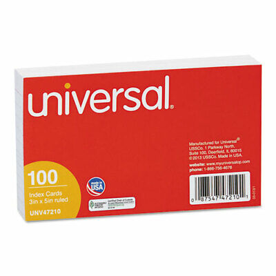 Universal Ruled Index Cards, 3 x 5, White, 100/Pack, PK - UNV47210