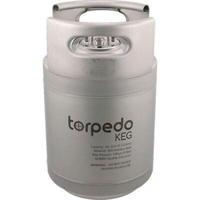 Torpedo Keg 2.5 Gallon Stackable Stainless Steel Ball Lock Kegs Wrolled Handles