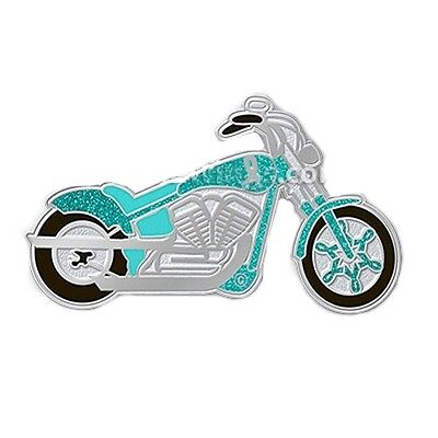 Teal Ribbon Pin - Teal Ribbon Motorcycle Pin Awareness Cancer Causes Ride for Cure Sparkles New