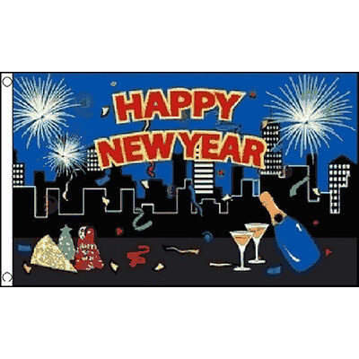 Happy New Year City Flag 5Ft X 3Ft Celebration Party Decoration Banner New - Party City New Years Decorations
