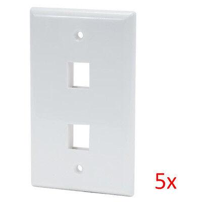 5pcs White 2-Port  (Dual Port) Wall Plate For RJ45 RJ11 RJ12 Keystone Jack Dual-port-wall Plate