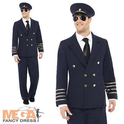 Airline Pilot Captain Mens Uniform Fancy Dress Navy Blue Adult Officer - Navy Captain Uniform Costume