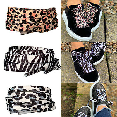 Zebra & Snow Leopard Animal Print Flat Ribbon Shoe laces shoelaces for Trainers