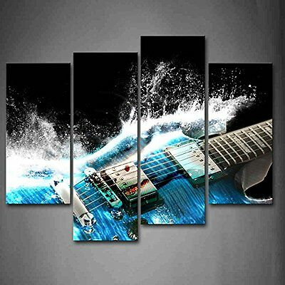 Guitar In Blue And Waves Wall Art Picture Print Canvas Music Photo Home Decor