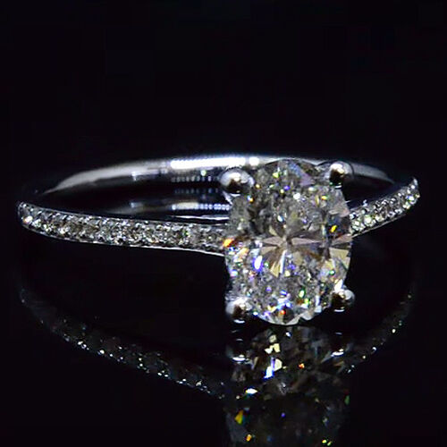 Charming 1.25 Ct Pave Nice Oval Cut Diamond Engagement Ring G,VVS1 GIA 18K WG