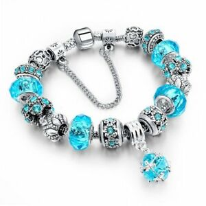 CADEAU NOEL - 50% - Superbe Bracelet bleu pâle style PANDORA