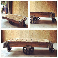 Vintage Foundry Cart Coffee Tables, Rustic, Personalized.
