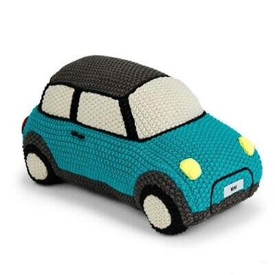 "Mini Cooper Knitted Car Plush Stuffed Toy AQUA 10"" x 6"" x 5"" 80452445713"