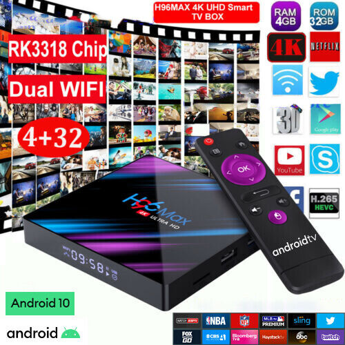 Smart TV BOX H96MAX Android 10.0 4GB 64GB Dual WIFI RK3318 4