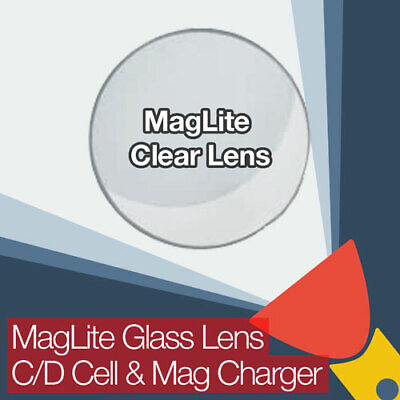 MagLite Replacement Clear Glass Lens C D Cell and Rechargeable Mag Charger Torch