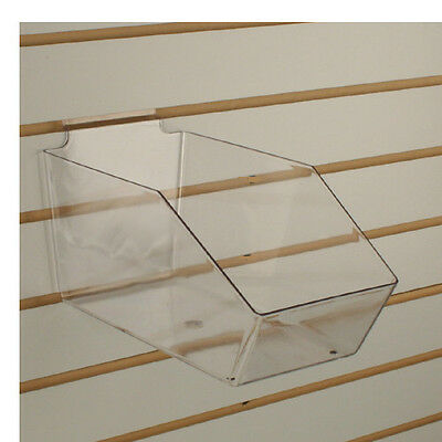 Slatwall Acrylic Bins Large Bin 6 L X 5.5 H X 11.5 D - Clear - 10 Pieces