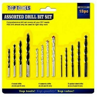 Assorted Drill Set (13pc Assorted Drill Bit Set DIY Wood Carbon Steel Various Sizes Work UK SELLER)