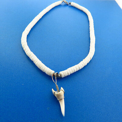 Vintage Shark Tooth Puka Shell Necklace 6mm 15.75 Inch