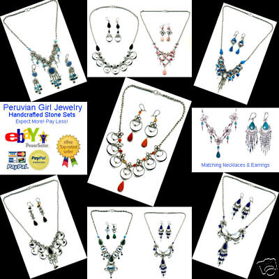 6 SEMI PRECIOUS GEMSTONE NECKLACES EARRINGS JEWELRY LOT PERUVIAN PERU WHOLESALE