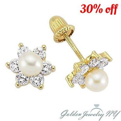 a5ba8196f 14K Yellow Gold Flower CZ & Pearl Stud Earrings Screw-back for Baby &  Children