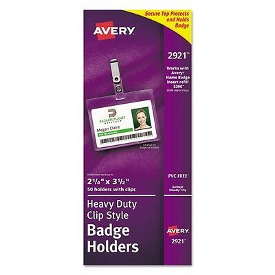 """Avery AVE2921 Landscape Photo ID Badge Holders, 2-1/4"""" x 3-1/2"""", Clip & Strap Holder, 50 Per Box, Clear"""