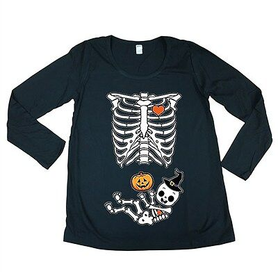 Long Sleeve Halloween Skeleton Baby Costume Horror Maternity DT T-Shirt Tee](Maternity Skeleton Halloween Costume)