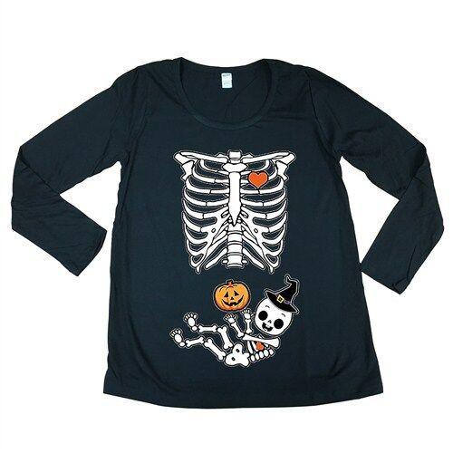 Halloween Baby Skeleton Black Maternity Soft Long Sleeve T-Shirt