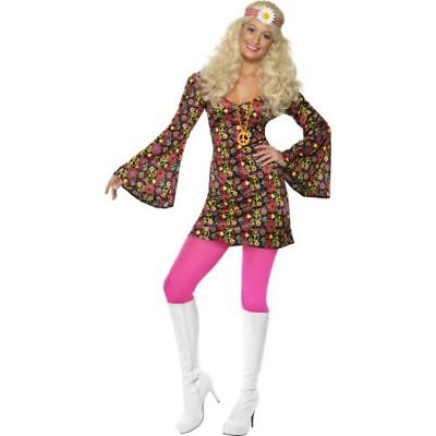 Smi - Karneval Damen Kostüm Disco Hippie sexy Kleid 60er Jahre (Hippie Sexy Damen Kostüme)