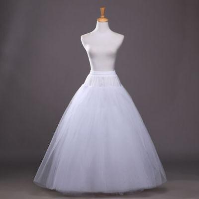 White Petticoat Bridal Wedding Dress Skirt Long Crinoline Underskirt Slips Hoop - White Petticoat Skirt