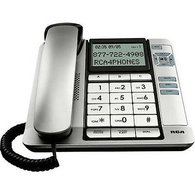 RCA 1-line Corded Desktop Phone with Speakerphone & Caller ID - Silver