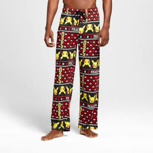Nintendo Pokemon Pikachu Mens Womens Christmas Lounge Pajama Sleep Pants XL