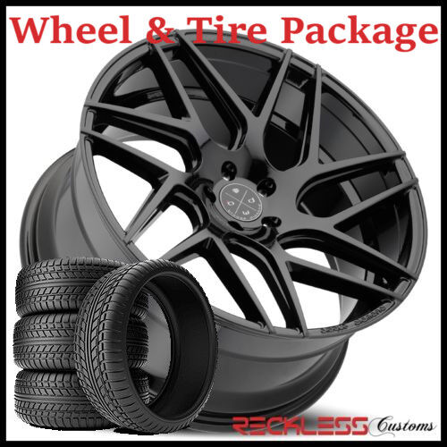 "22"" Blaque Diamond Bd3 Concave Black Wheels And Tires Fits Ford Explorer"