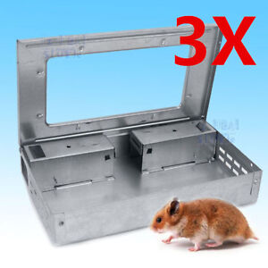3 x Multiple Mouse Safe Self Catching Humane Rodent Vermin Live Mice Traps Trap