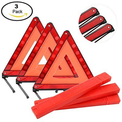 3x Car Triangle Safety Warning Parking Sign Reflective Fold Able Road Emergency