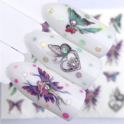 Nail Art Nagel Sticker * Wasser Transfer Tattoo * Schmetterlinge Elf Fee