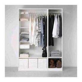 Brand new completed Ikea pax wardrobe with 3 TYSSEDAL doors