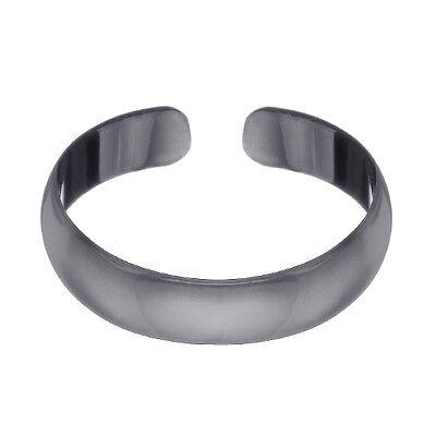 Black Rhodium over Silver 4mm Polished Plain Toe Ring Polished Toe Ring