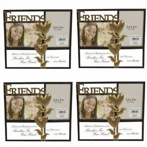 4 Friendship Friends Metal Picture Frames Bronze Home Photo Décor Cute 3.5 x 5